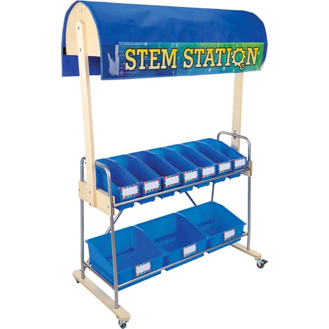 Mobile Storage Rack With STEM Canopy And Bins