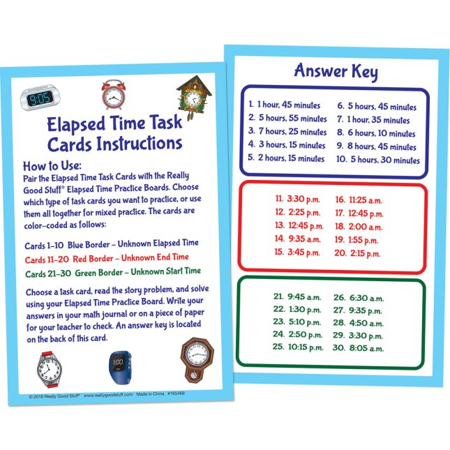 Elapsed Time Task Cards - 17 cards