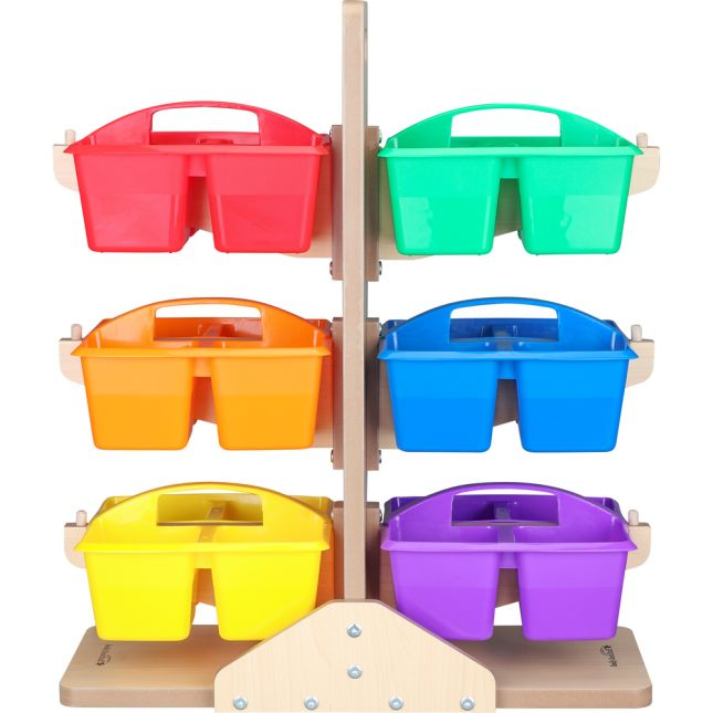 Equal-Compartment Caddies And Stand - Set Of 6