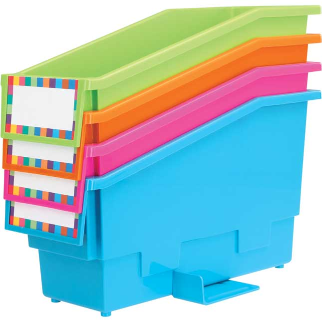 Multi-Directional 4-Bin Wire Rack With Bins - Neon Colors