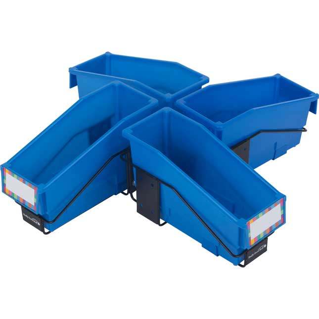 Multi-Directional 4-Bin Wire Rack With Single-Color Bins