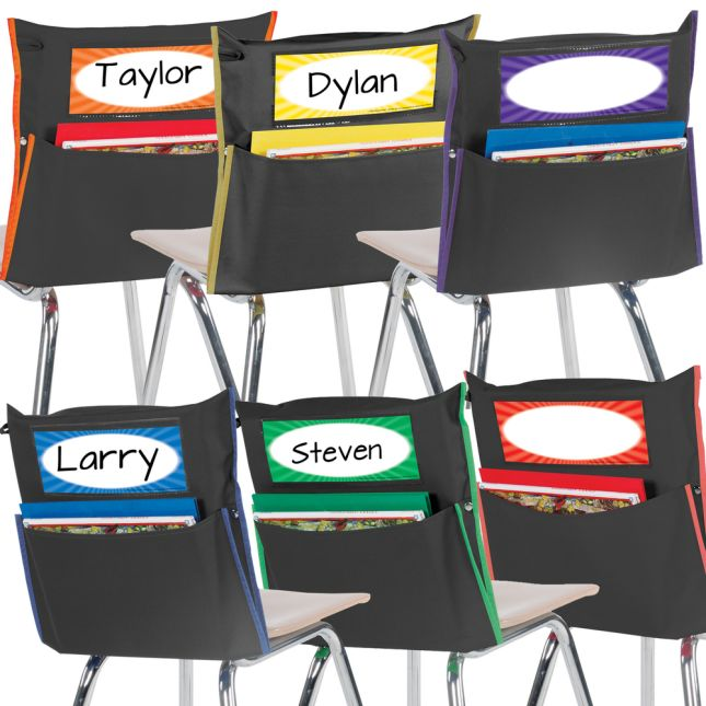 Grouping Chair Pockets - 24 Pack - 6 Group Colors - Black