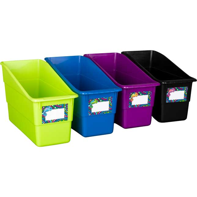 Chameleon Durable Book And Binder Holders - 12 bins, 36 labels