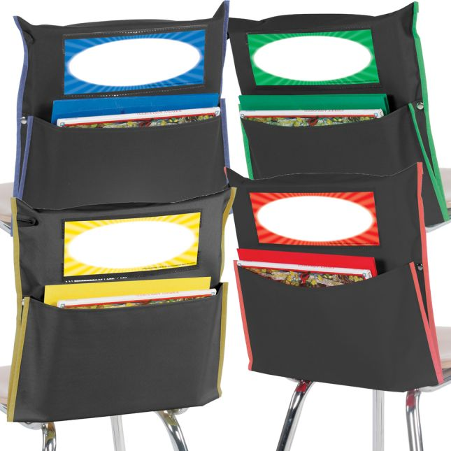 Store More® Black Grouping Chair Pockets - 4-Color Piping - Set Of 32
