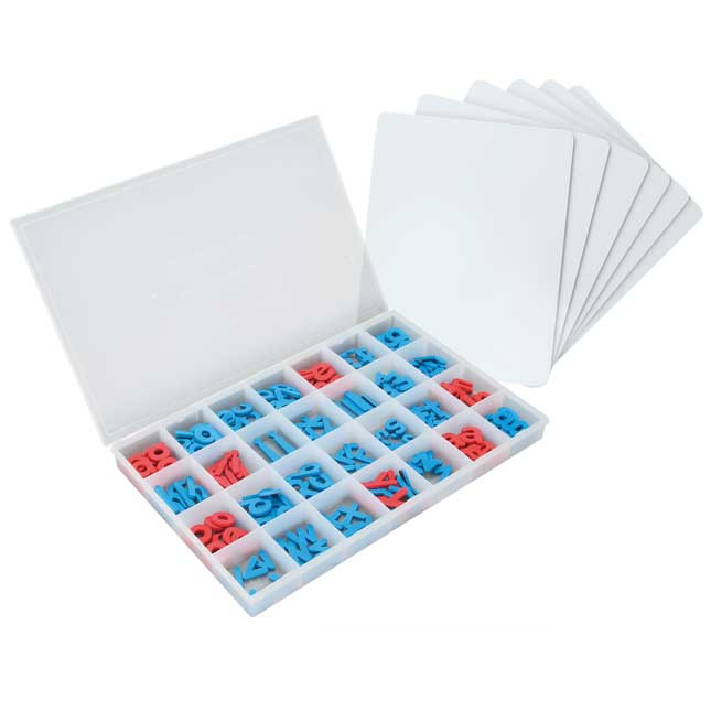 Magnetic Dry Erase Boards With Foam Color-Coded Magnetic Letters - Small Group Pack