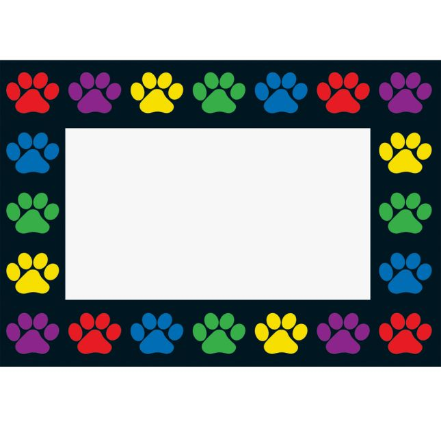 Paw Prints Book Pouches And Labels - Black With Neon Trim - Set Of 12_3