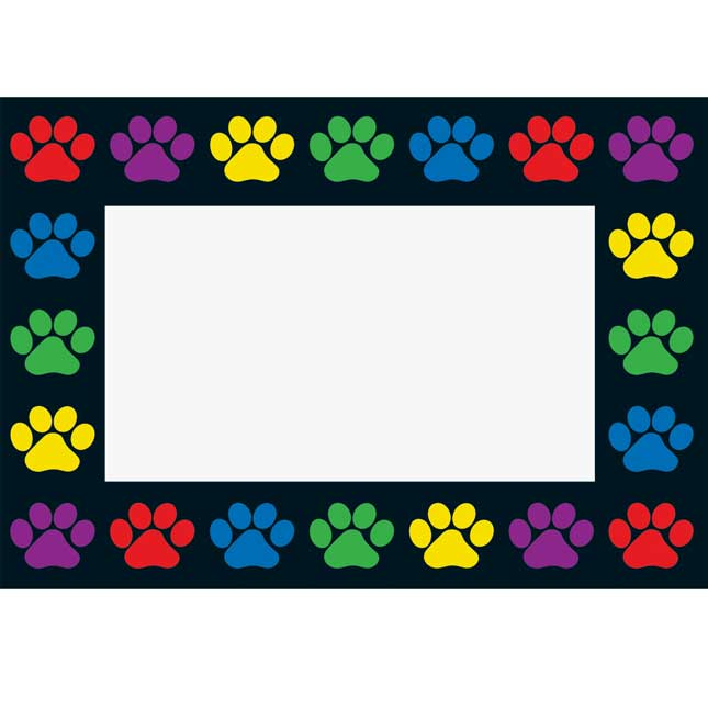 Paw Prints Book Pouches And Labels - Black With Neon Trim - Set Of 12_4