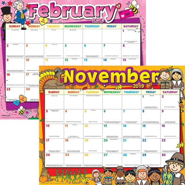Monthly Calendar Pages And Stickers 2019-2020 - Primary
