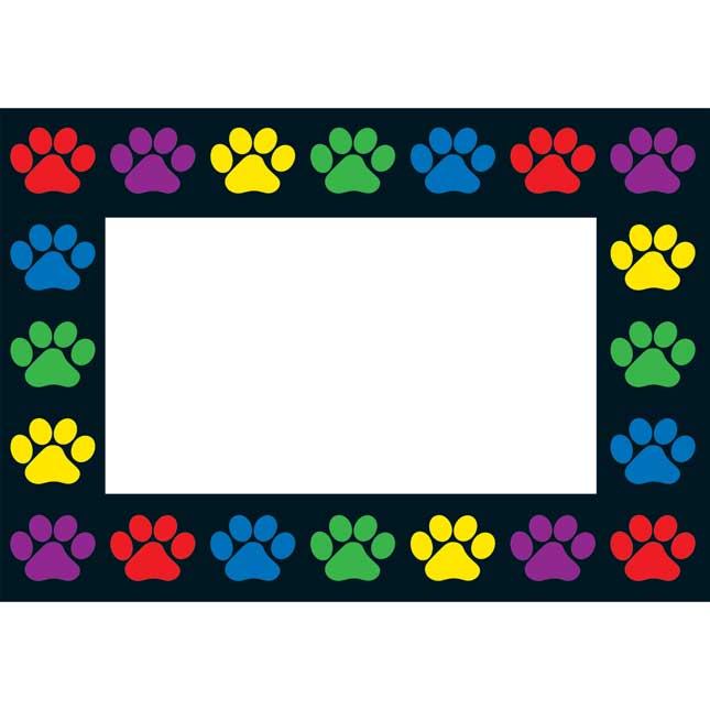 Paw Prints Book Pouches And Labels - 6 Colors - Set Of 12