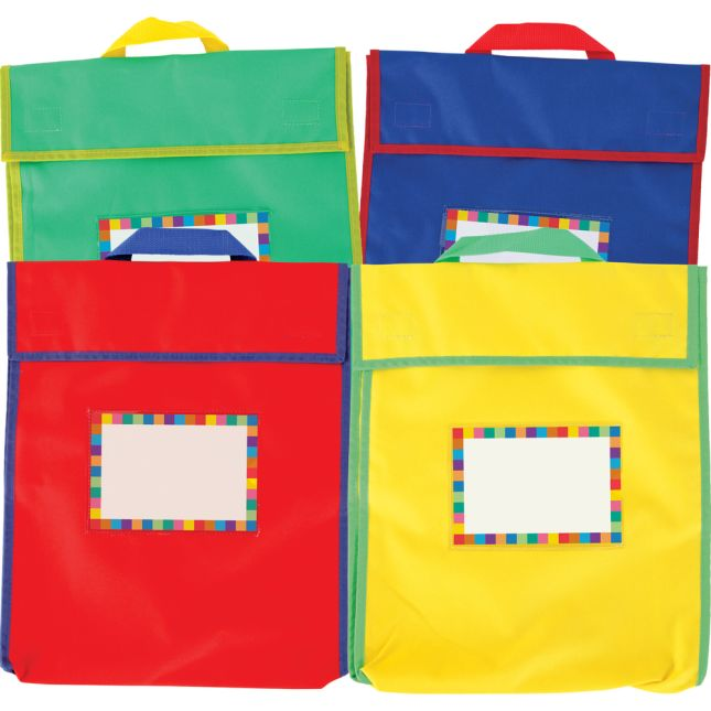 Store More® Large Book Pouches And Labels - Primary Colors - Set Of 12
