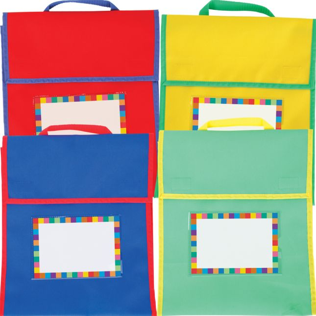 Store More® Medium Book Pouches And Labels - Primary Colors - Set Of 12