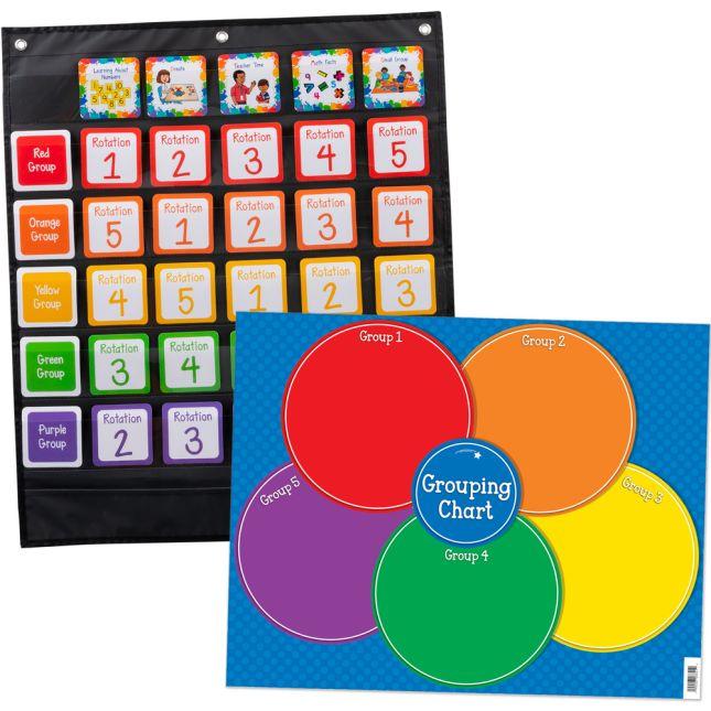 Math Stations Pocket Chart & Cards Easy Setup Kit