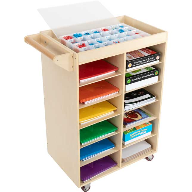 Rolling Organizer With Magnetic Dry Erase Board
