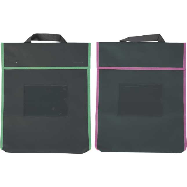 Store More® Large Book Pouches And Labels - Black With Neon Trim - Set Of 12