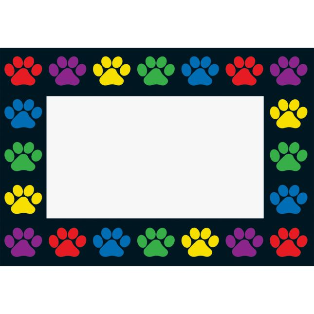 Paw Prints Book Pouches And Labels - Black - Set Of 12