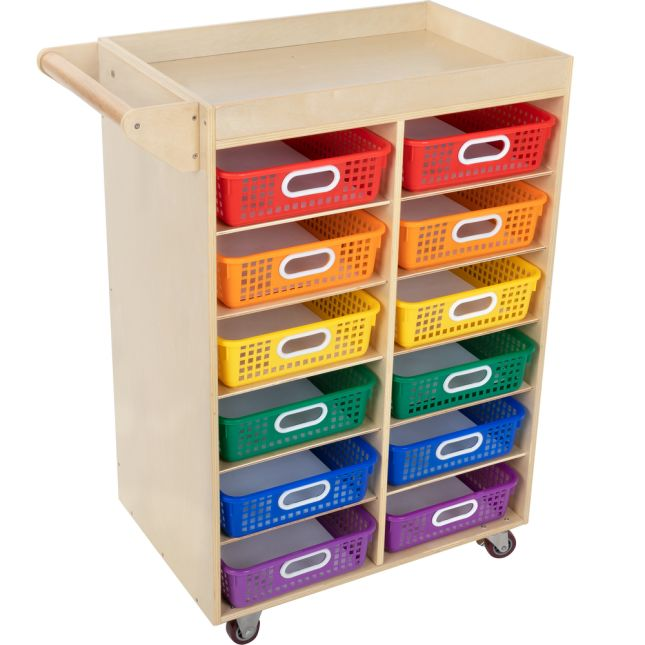 Rolling Organizer With Magnetic Dry Erase Board And Baskets