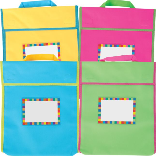 Store More® Large Book Pouches And Labels - Neon Colors - Set Of 12