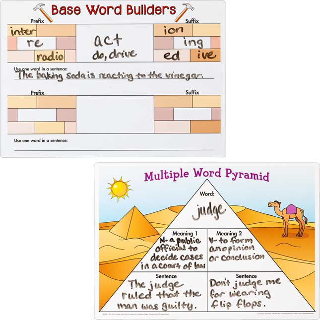 Word Map Dry Erase Boards - 3 dry erase boards