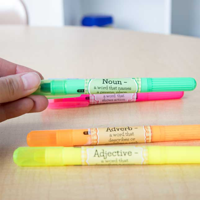 Parts Of Speech Stickers And Highlighters - Intermediate