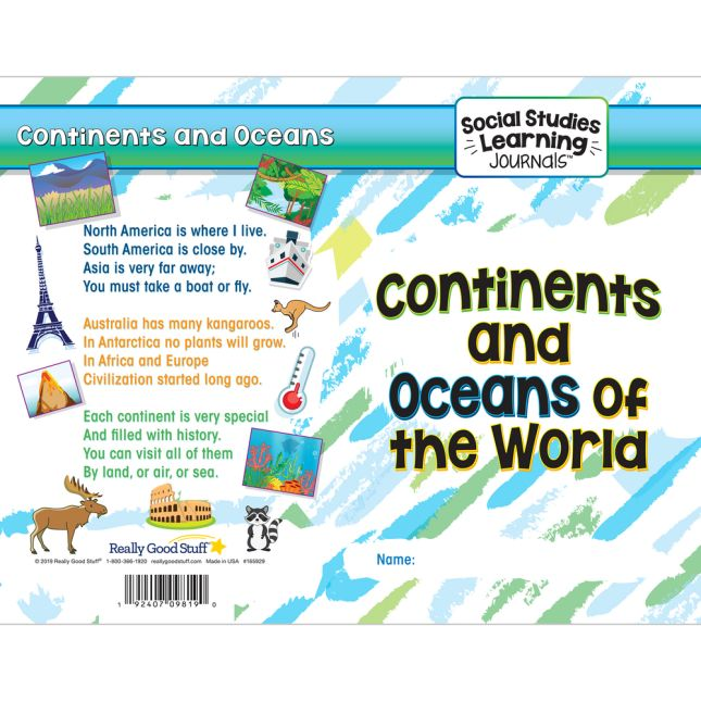 Social Studies Learning Journals  Continents And Oceans Of The World - 24 journals