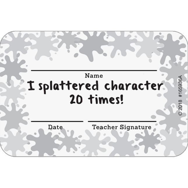 Splatter Character Tracker Cards