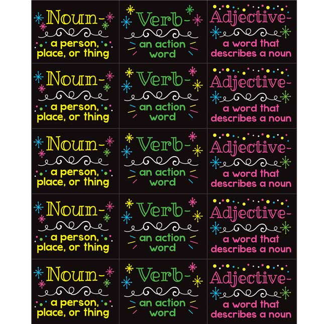 Parts Of Speech Stickers And Highlighters Kit – Primary - 36 stickers, 18 highlighters