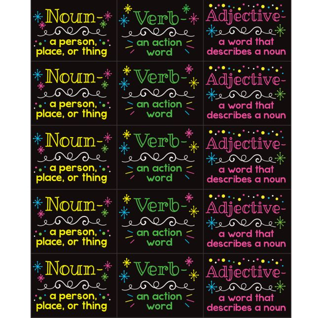 Parts Of Speech Stickers For Highlighters – Primary