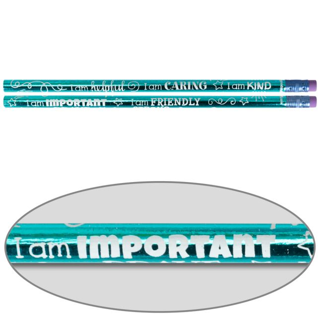 Positive Affirmation Pencils for School or Home to Promote Social-Emotional Learning - Set of 12