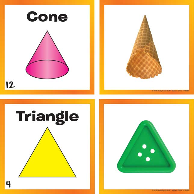 """2- And 3-Dimensional Shapes Cards And 6"""" Cubes"""