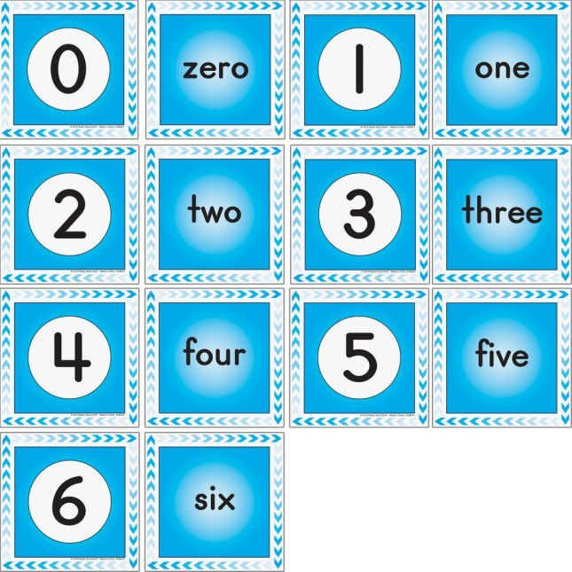 Numbers 0-12 Cards - 26 cards