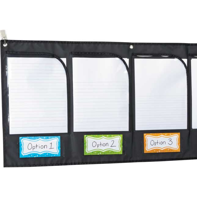 Wall Pockets With Labels - 1 pocket chart, 12 cards