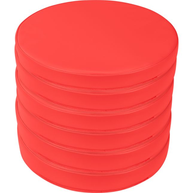 Round Cushions  Set Of 6  Single Color - Red