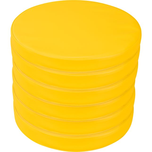 Round Cushions  Set Of 6  Single Color - Yellow