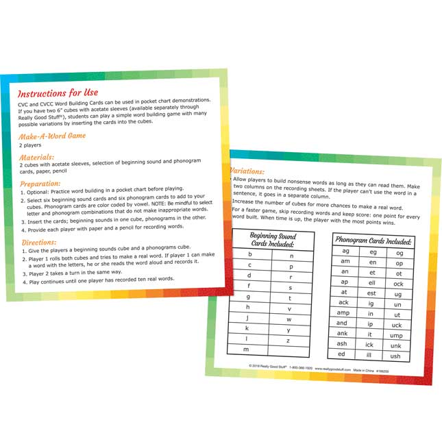 CVC and CVCC Word Building Cards - 52 cards
