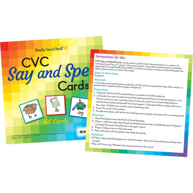 "CVC Say And Spell Cards And 6"" Cubes"