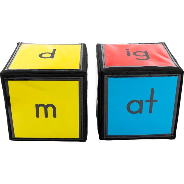 "CVC and CVCC Word Building Cards And 6"" Cubes - 2 cubes, 52 cards"