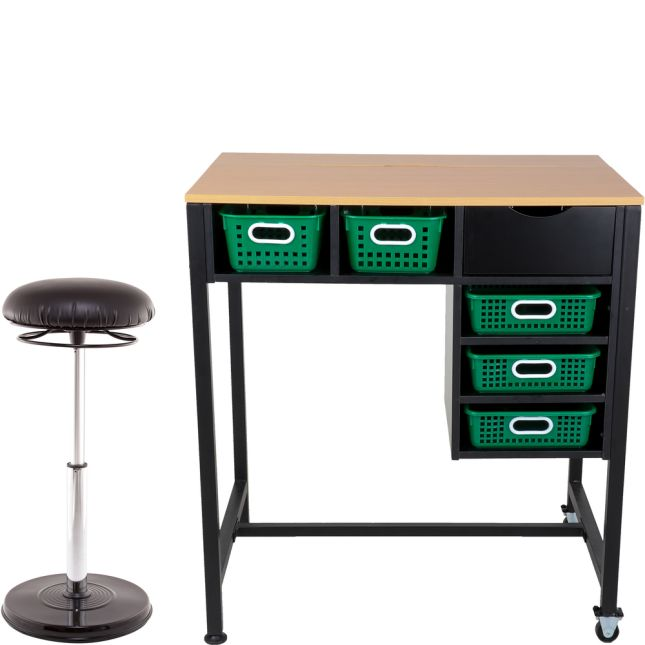 Standing Workstation With Teacher Kore Chair And Single-Color Baskets
