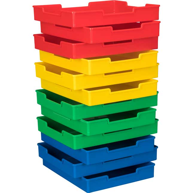 Plastic Trays - Set Of 12 - 4-Color Grouping
