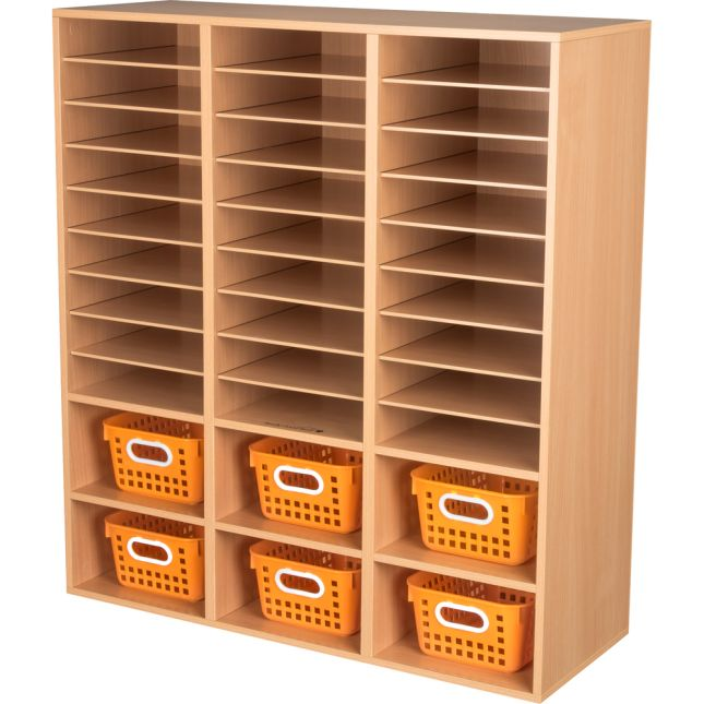 27-Slot Mail And Supplies Center With 6 Cubbies And Single-Color Baskets