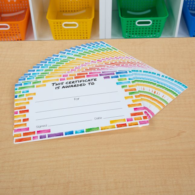 Rainbow Building Blocks Certificates  24 Pack