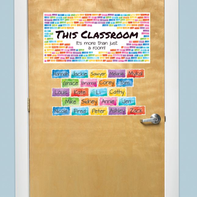 EZ Stick Rainbow Building Blocks Door Sign And Student Name Pieces