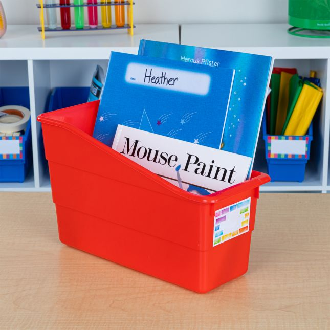 Rainbow Building Blocks Durable Book And Binder Bins - 12 bins, 36 labels