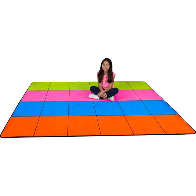 "7'6"" Neon Pop Rug – 4 Colors – 24 Squares - 1 rug"