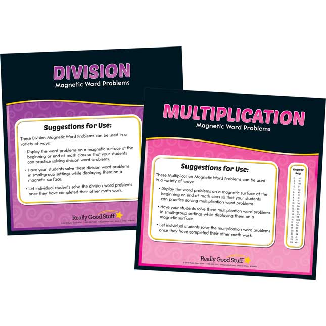 Magnetic Read, Show And Solve Math Boards With Multiplication And Division Word Problems Kit