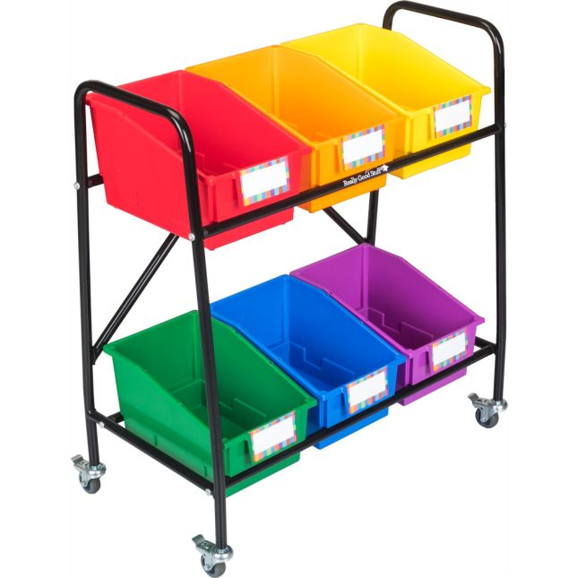 Mid-Size Mobile Storage Rack With 6 Chapter Book Bins™ - Grouping