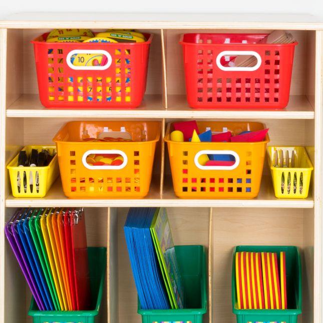Oak Storage Shelf With Bins