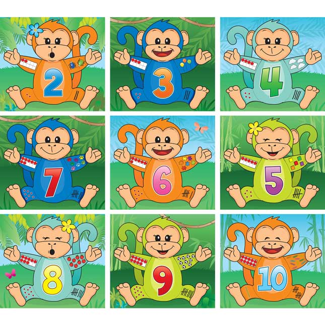 Monkey Matching Number Puzzles - 20 puzzles
