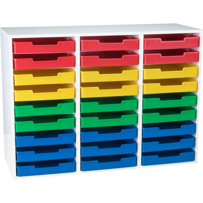 White 27-Slot Mail Center With Trays - 4-Color Grouping
