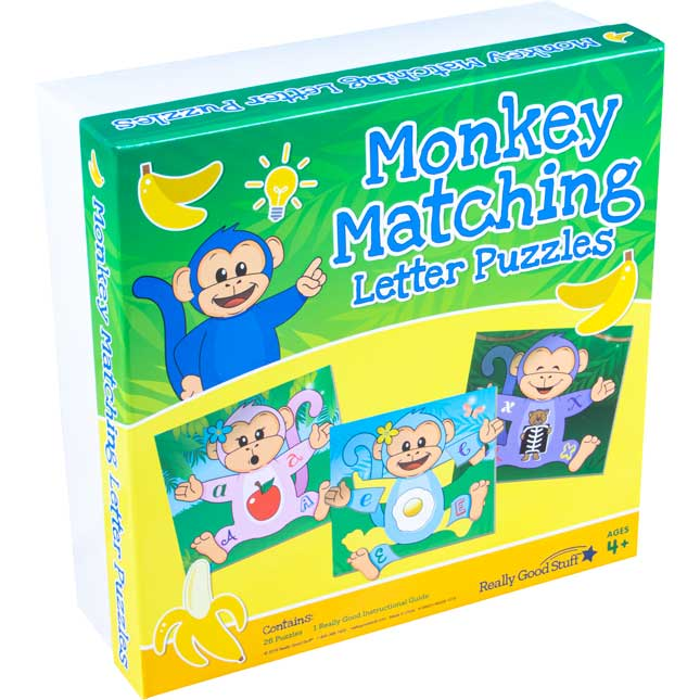 Monkey Matching Letter Puzzles - 26 puzzles
