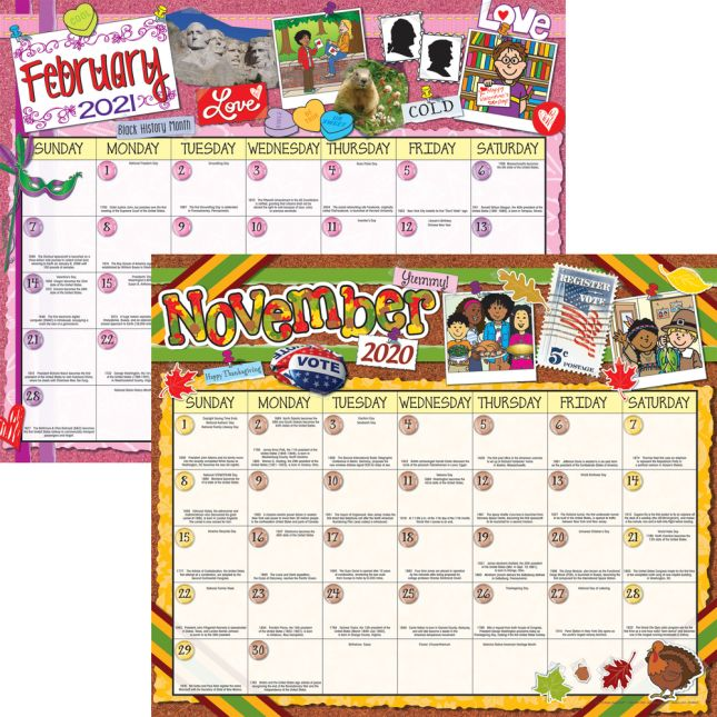 Monthly Calendar Pages And Stickers 2020-2021 Intermediate